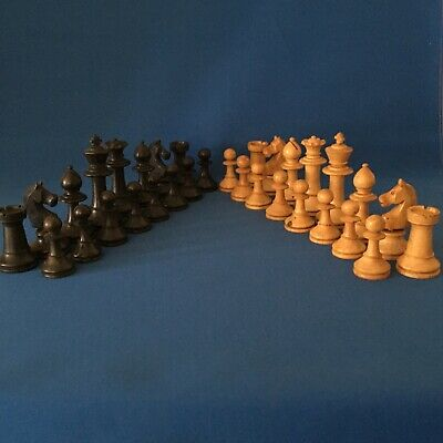 Complete Vintage Chess Set Boxwood Ebony King 89 Mm • 75£