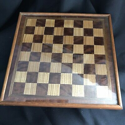 Antique Vintage (1920s/30s) Wooden Inlay Chess Board With Glass Top • 50£