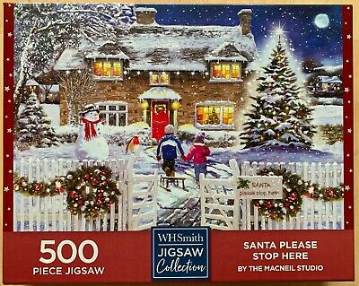 'Santa Please Stop Here' 500 Piece Jigsaw By WH Smiths In Excellent Condition • 1.20£