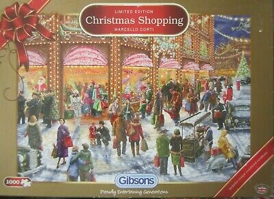 Christmas Shopping ~ 1000 Piece Gibsons Limited Edition Jigsaw Puzzle • 6.95£