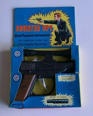 Vintage Child's Cap Gun COUNTER SPY In Original Box, Sight & Silencer • 19.99£
