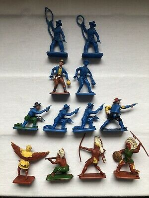 Crescent Toys 12 X Wild West Figures Cowboys & Indians - 1960's/70's - Free P&P • 15£