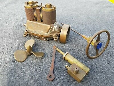 Live Steam Twin Cylinder Brass Very Old Marine Engine And Some Bits • 15£
