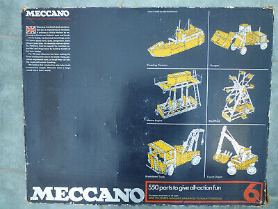 MECCANO SET 6 BLUE YELLOW ZINC 1970's • 20£