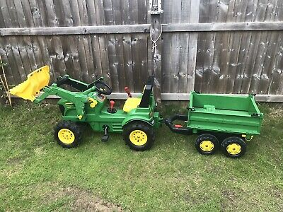 John Deere Rolly Ride On Pedal Tractor Trailer And Winch • 180£