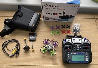 FPV Quadcopter Drone Tiny Whoop Mobula Style, + Goggles Transmitter Ready To Fly • 48£