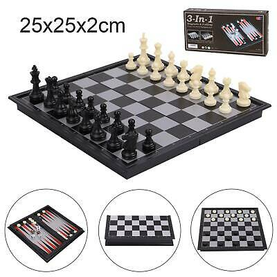 Folding Wooden Chess Set High Quality Standard Chess Set Chessboard 25x25CM • 6.49£