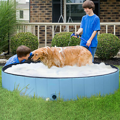 New Foldable Pet Dog Paddling Pool Garden Pupppy Swimming Bathing Tub 80-120cm • 17.29£