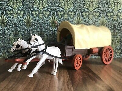 1960's Timpo Covered Wagon,2x Horse Team, 2 Cowboys + Additional Figures. L@@K. • 19£