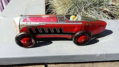 Marx Tinplate Giant Racing Car With Man Sat In With Wind Up Key (1941 ) • 295£