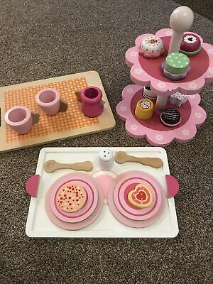 Childs Wooden Tea Set And Cake Stand • 12£