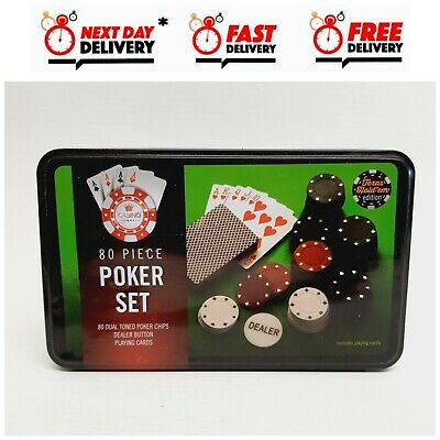 80 Piece Poker Set New Texas Hold Em Edition Dealer Button, Playing Cards • 8.99£