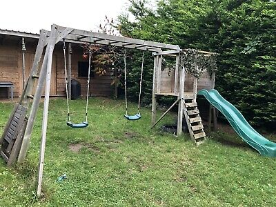 Childrens Outdoor Garden Swing Slide Monkey Bars Set • 51£