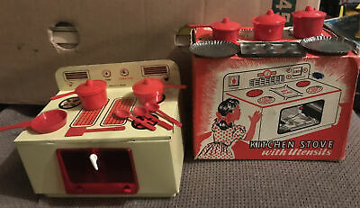 VINTAGE METTOY KITCHEN STOVE WITH UTENSILS 1950's TINPLATE TOY  - BOXED Model298 • 11.50£