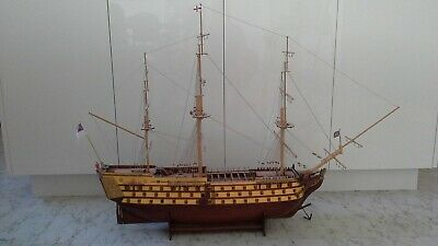 HMS Victory Nelson's Flagship Wooden Ship - Built Model On Stand VGC • 215£