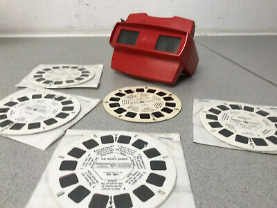 GAF VIEWMASTER MODEL J STEREO VIEWER & 5 REELs RED RARE 1970's SNOW WHITE ETC • 24.99£