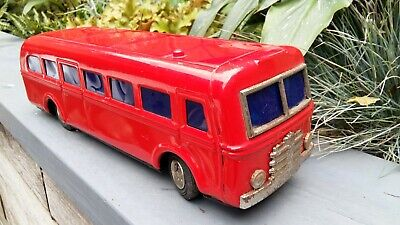 Vintage Tin Toy Large Red Bus With Nice Vibrant Original Colour And Petina • 120£