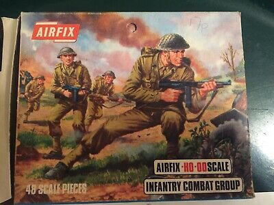 Airfix HO-OO VINTAGE INFANTRY COMBAT GROUP Reasonable Box, Set Complete  • 12£