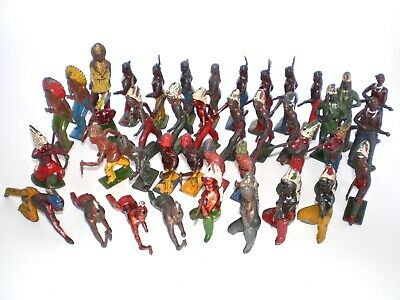 JOHILLCO, BRITAINS Vintage INDIAN WILD WEST Metal  Figures Lead Toys • 6£