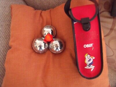 Obut    Junior Set Of Three Boules With One  Red  Marker Ball In Carry Case... • 22£
