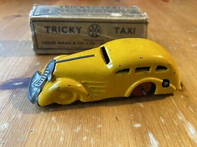 Vintage Marx Tricky Taxi, Wind Up Tinplate Car, 1940's? • 39£