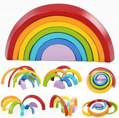 King Do Way Educational Toy Building Blocks, Wooden Rainbow For Learning, Puzzle • 9.99£