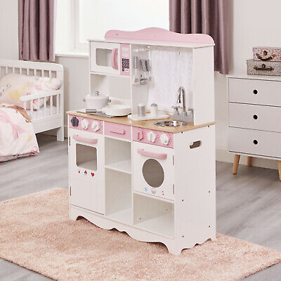 Children's Country Play Kitchen With 9 Wooden Accessories • 83.99£