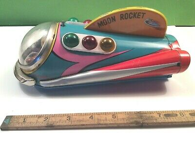 Rare Tinplate Moon Rocket Vintage Space Toy • 85£