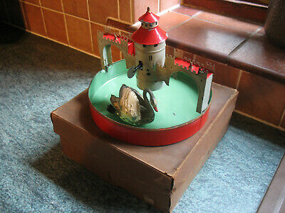Antique Castle Moat Swan Box Wind Up Germany Tinplate Toy Bing Gunthermann Tin  • 590£