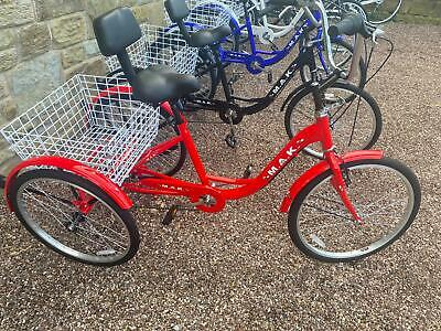Tricycle Red 3 Wheel With Aluminium Frame & 24 Inch Wheels Adults Trike Bicycle • 249.99£