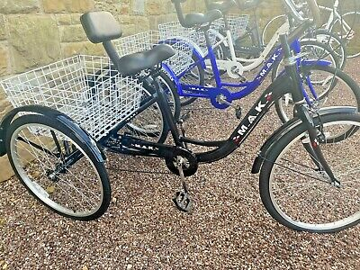 """Tricycle Adults BLACK Size 24"""" Wheels UK Quality Lighter Aluminium Trike Bicycle • 249.99£"""