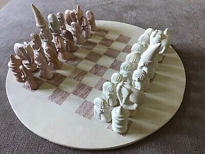 Round Hand Carved Soapstone African Chess Set • 42£