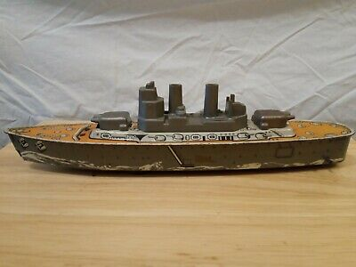 Vintage Tinplate Mettoy Battleship With Sparking Friction Drive • 35£