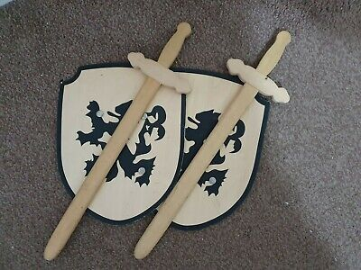 2 Wooden Knight Swords And Shields • 0.99£