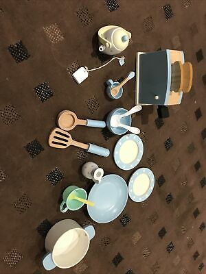 Wooden Toy Kitchen Play Set. Utensils And Toaster Plates And Pan. Preschool • 10£