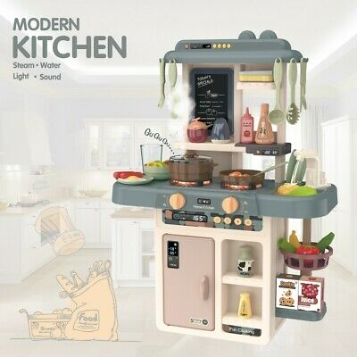 Role Play Kids Kitchen Playset With Real Cooking Water Boiling Sounds Baby Gift • 26.98£