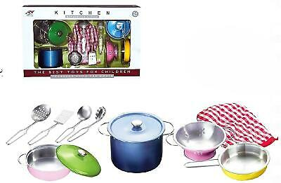 Childrens Toy Metal Kitchen Cooking Utensils Pots Pans Accessories Set Kids Play • 12.95£