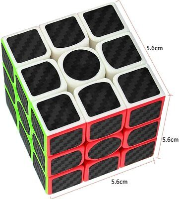 Carbon Fiber Sticker 3X3 Cube Smooth Speed Puzzle Toy Memory Game Kids & Adults • 5.95£
