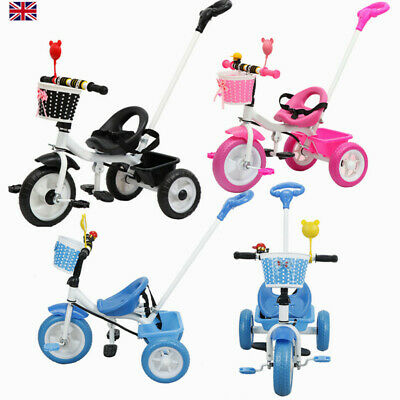 3 Wheels Bike Kids First Trike Children Tricycle Bicycle Parent Handle Push Toy • 29.88£