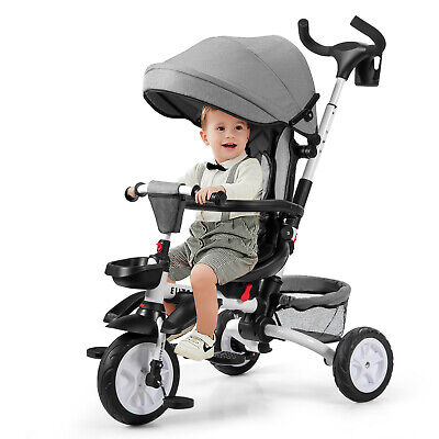 6 In 1 Kids First Bike Stroller Tricycle Detachable Trike Adjustable Canopy Fold • 99.95£