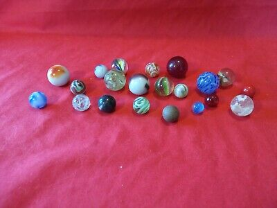 Collection Of 21 Assorted Antique Vintage Poss Handmade Ceramic & Glass Marbles • 6.30£