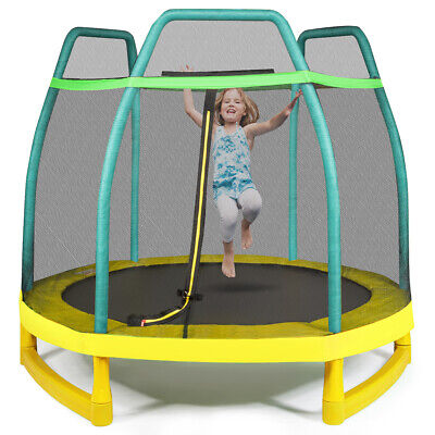 7FT Kids Trampoline With Safety Enclosure Net & Spring Pad Outdoor Indoor Toy • 139.95£