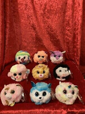 TY Puffies - 9 (Complete Set).  Plus 9 TY Face Masks.  P&P Included. • 50£