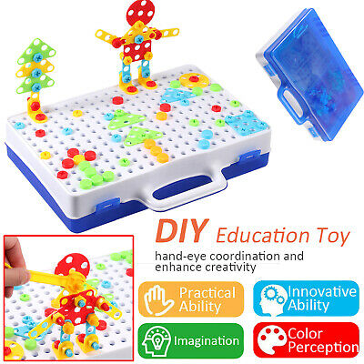3D Mosaic Electric Drill Puzzle Toy Set Kids Building Model Blocks Assembly Gift • 17.95£