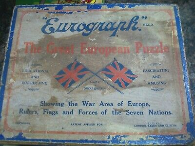 Eurograph Great European Puzzle Vintage Wooden Jigsaw War Area Of Europe • 19.99£
