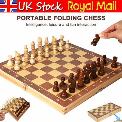 Large Chess Wooden Set Folding Chessboard Magnetic Pieces Wood Board UK • 37.48£
