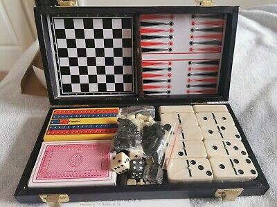 Travel Multi Games Case (Checkers, Chess, Cribbage, Dominoes, Backgammon) • 18£