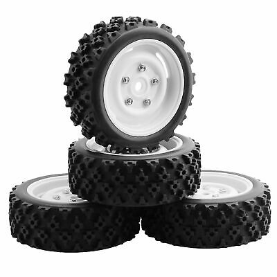 4PCS RC 1:10 Off-road Vehicles Buggy Front /Rear Wheel Rims & Rubber Tires • 14.58£