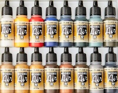 Vallejo Model Air Color Acrylic Paints - 17ml Bottles - Full Range Available • 3.35£