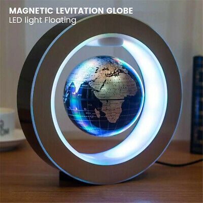 O Shape Magnetic Levitation Floating Earth Globe World Map LED Light Decor Gift • 24.99£